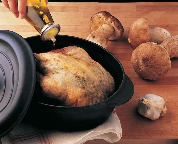 recette de Pintade truffée de beurre aux cèpes