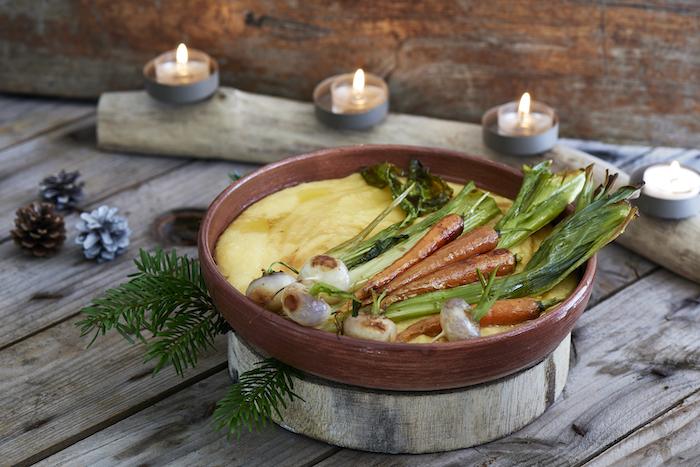 recette de Polenta crémeuse et légumes rôtis