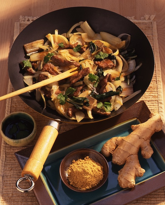 recette de Wok de légumes à l'agneau et au gingembre