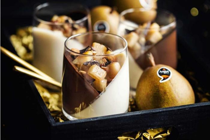 Panna cotta poire-chocolat
