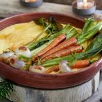 Polenta crémeuse et légumes rôtis