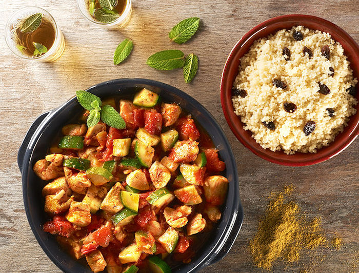 recette de Tajine de poulet aux courgettes