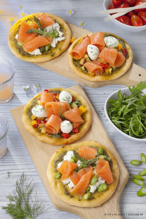 recette de Pizzettes au saumon fumé