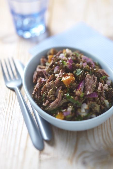 recette de Salade de bœuf aux lentilles