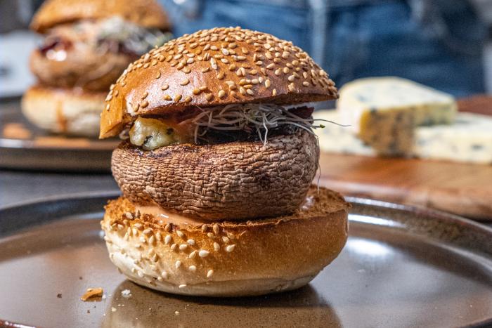 Burger de portobello à la Fourme d'Ambert