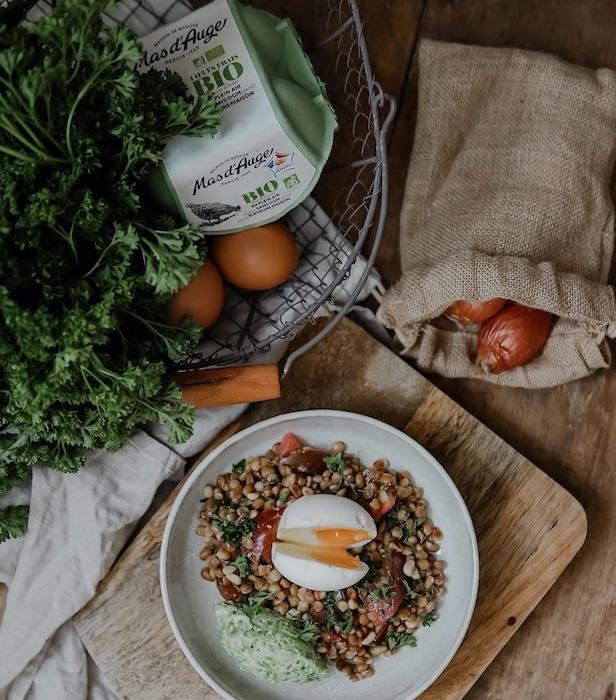 recette de Salade de lentilles à l'oeuf mollet