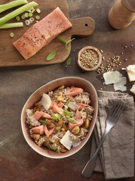 recette de Risotto de sarrasin au saumon et légumes