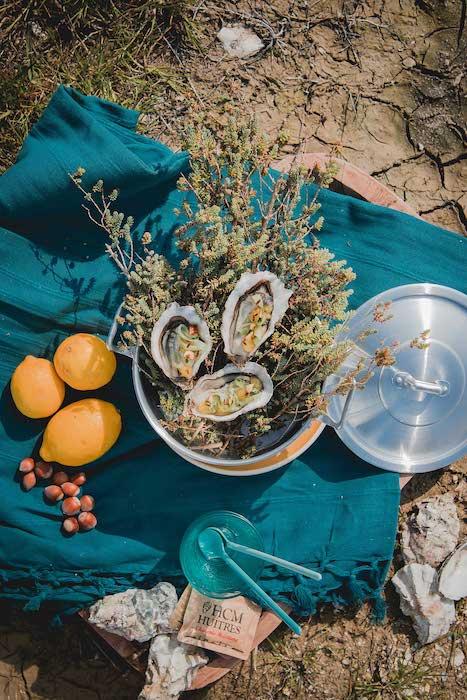 recette d'Huîtres citronnées et concombre