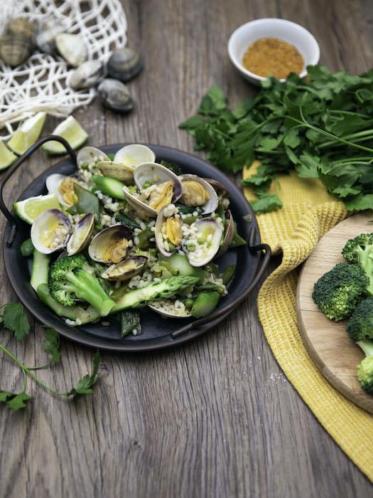 recette de Paëlla verte aux palourdes