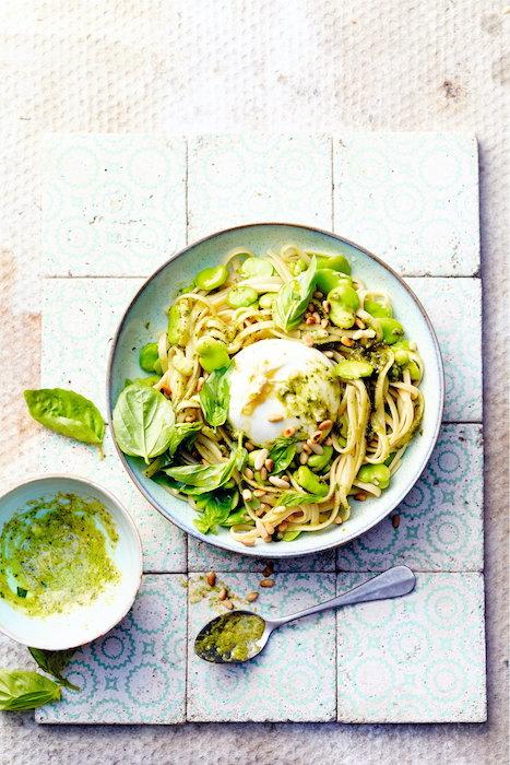recette de Linguine aux fèves et pesto