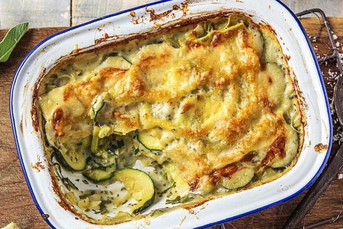 Lasagnes végétariennes à la courgette et aux poireaux