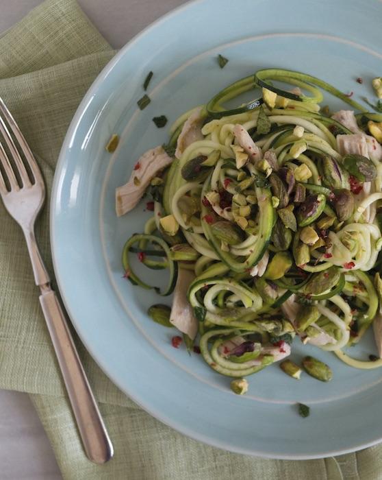 recette de Spaghettis de courgettes aux pistaches