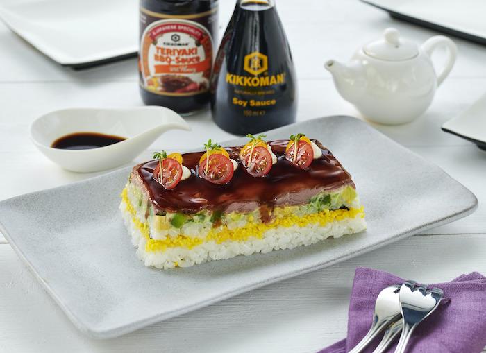 recette de Sushi Cake au rosbeef