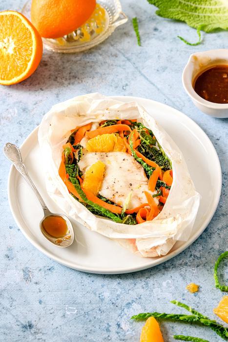 recette de Tacaud en papillote et sauce à l'orange