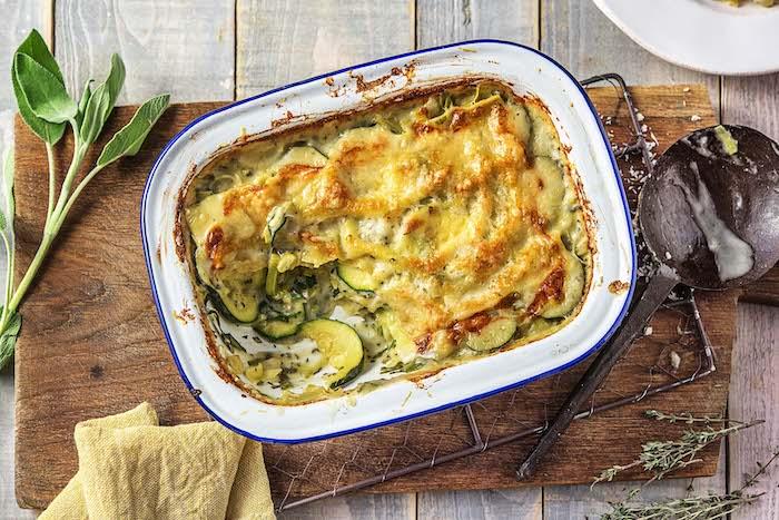 recette de Lasagnes végétariennes à la courgette et aux poireaux