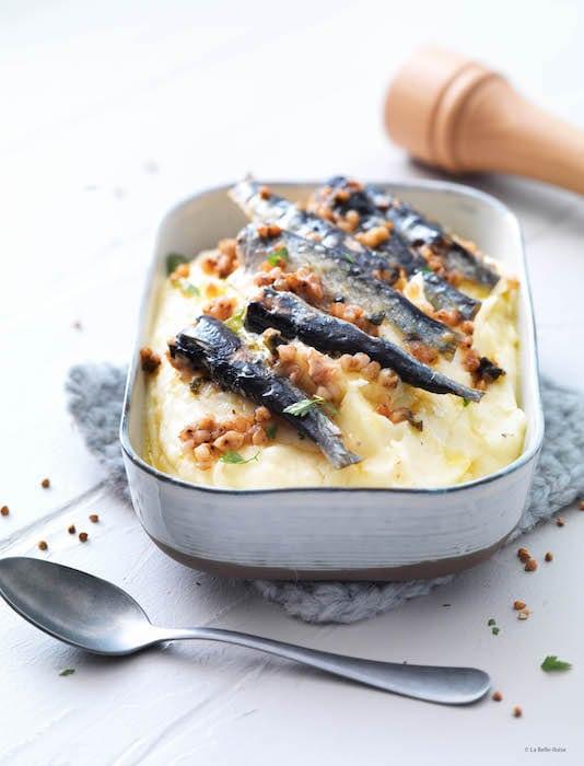 Purée à l'ancienne et sardines