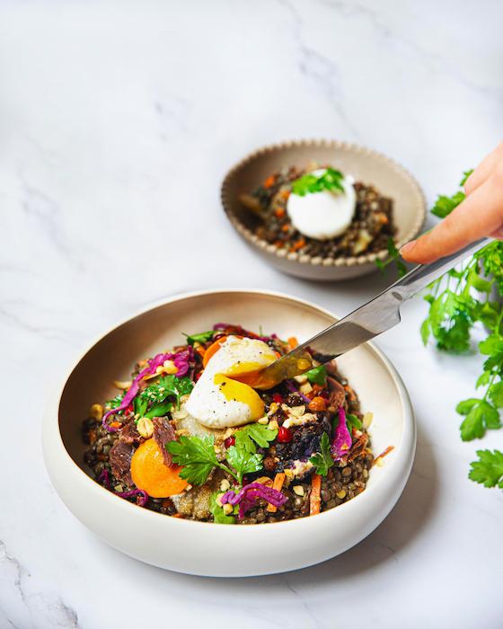 recette de Salade de lentilles aux gésiers confits