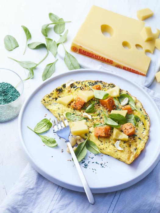 recette d'Omelette à la spiruline et à l'Emmentaler