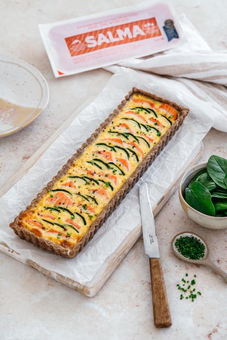 recette de Tarte au saumon et courgettes
