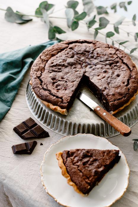 recette de Tarte façon brownie aux noix