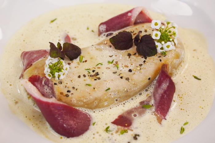Foie gras à la crème de lentilles