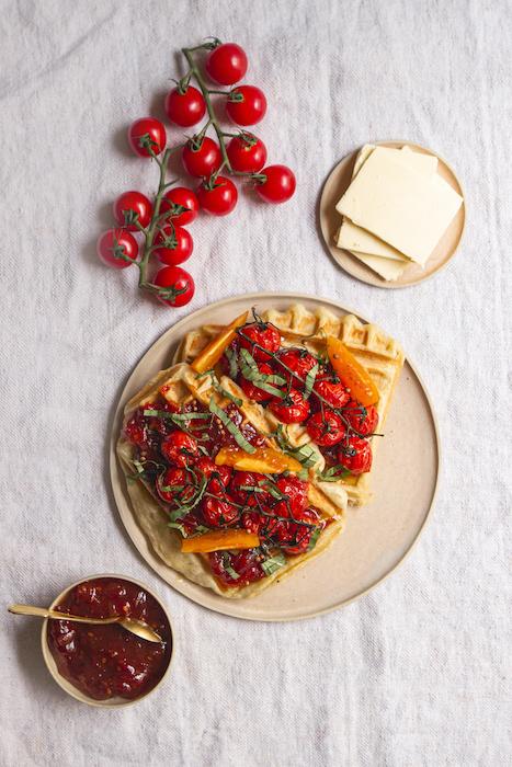 recette de Gaufres au parmesan et à la confiture de tomates
