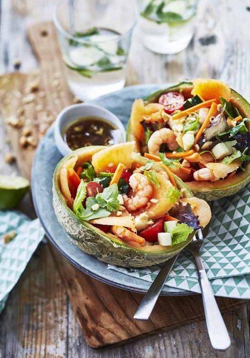 recette de Bowl thaï de melon aux crevettes