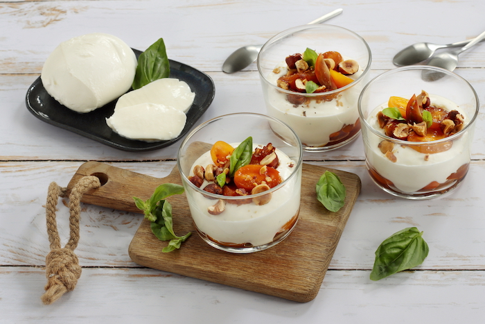 Chantilly de mozzarella aux tomates confites
