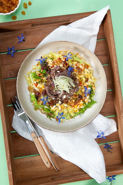 recette de Salade de paleron aux raisins secs