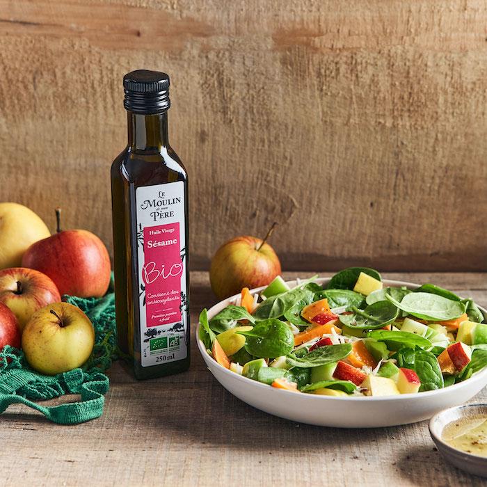 recette de Salade de pousses d'épinard aux pommes