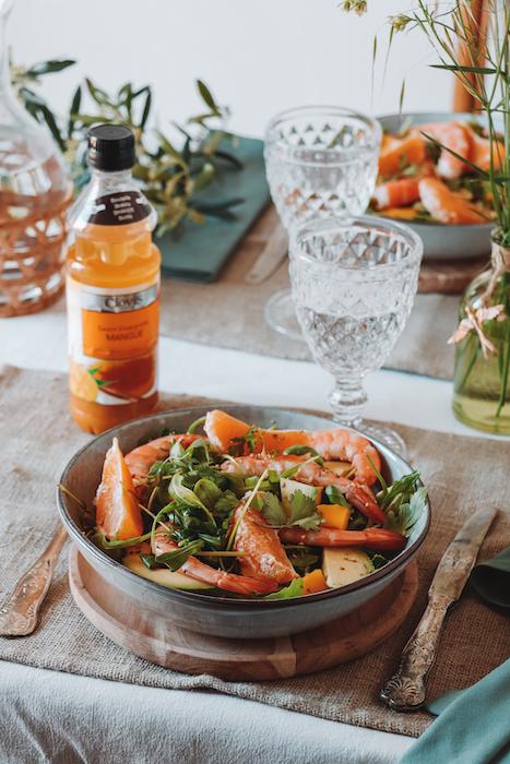 recette de Salade de gambas à la mangue et à l'avocat