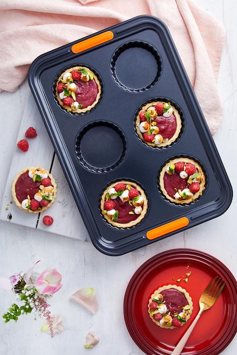 recette de Tartelettes à la crème de framboises et de roses