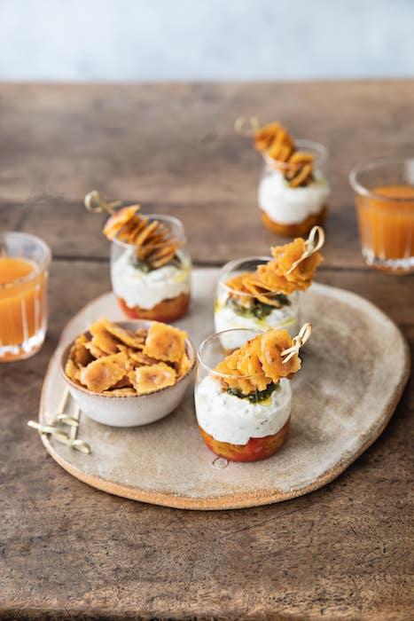 recette de Verrines aux poivrons et ravioles