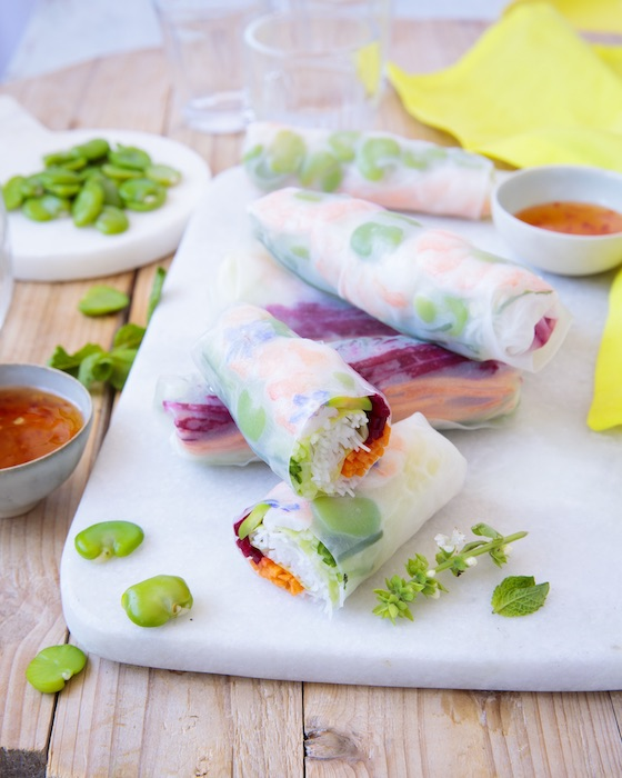 recette de Summer rolls aux fèves et crevettes