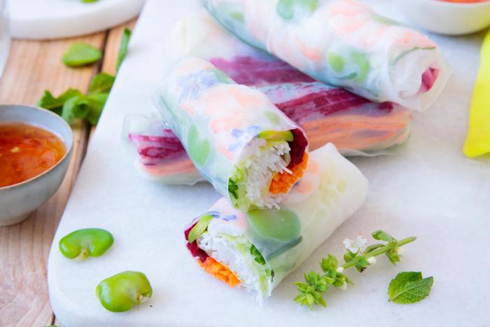 Summer rolls aux fèves et crevettes