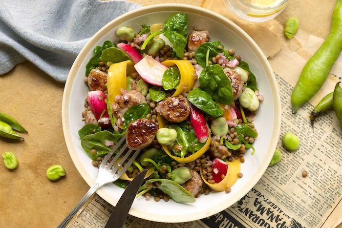 recette de Salade de lentilles blondes aux fèves