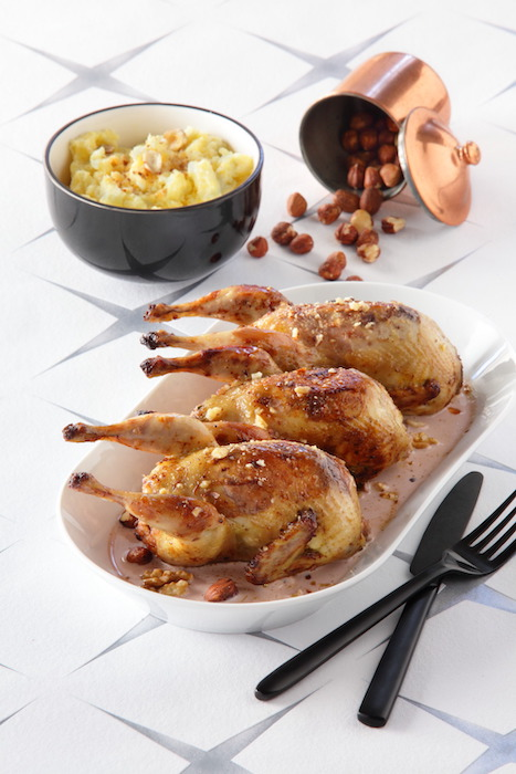 recette de Cailles farcies aux noix et noisettes