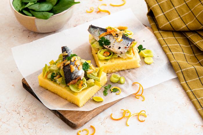 recette de Tarte polenta aux poireaux et sardines