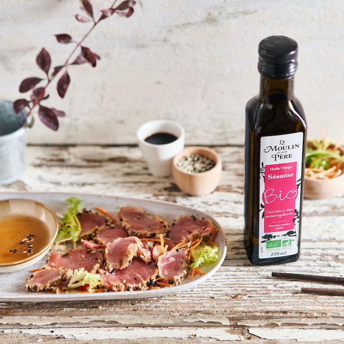 recette de Tataki de thon à l'huile de sésame