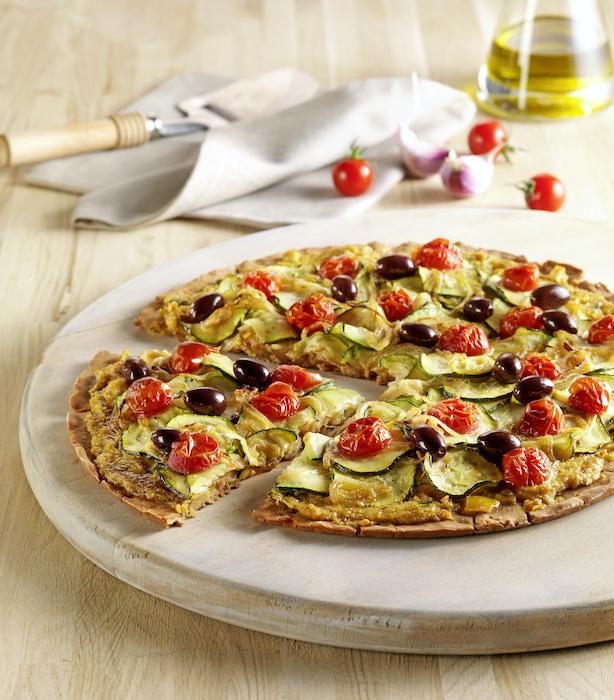 recette de Pizza sans gluten aux courgettes et tomates