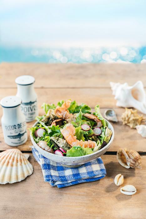 recette de Salade de jeunes pousses aux langoustines