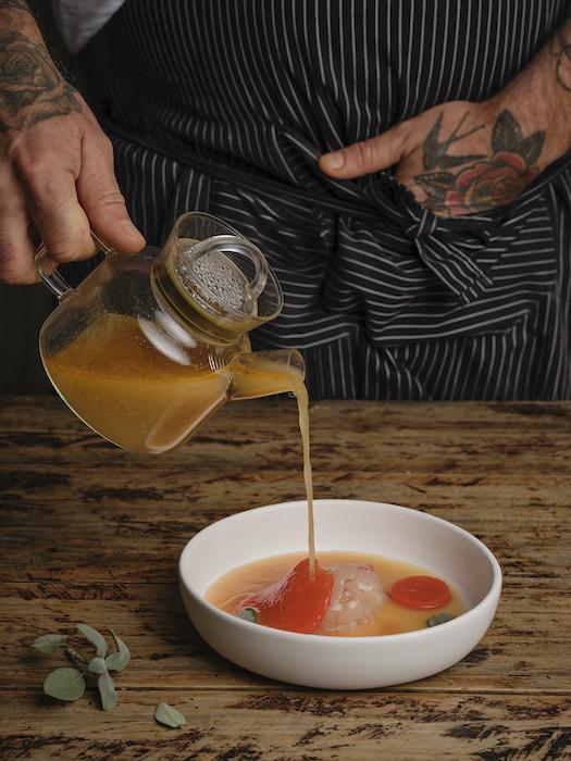 recette de Raviole de homard et tomate en gelée
