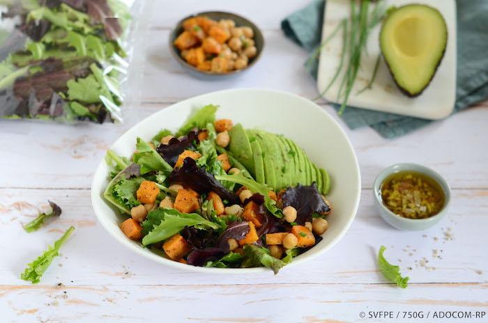 recette de Salade de pousses à la patate douce