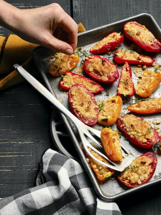 recette de Crumble de tomates et mini-poivrons