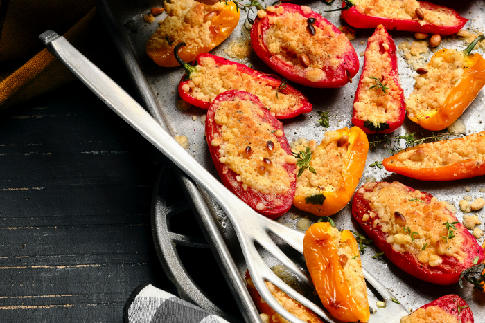Crumble de tomates et mini-poivrons