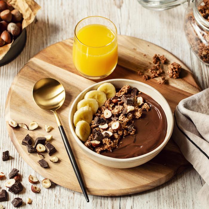 recette de Granola bowl chocolat et noisettes
