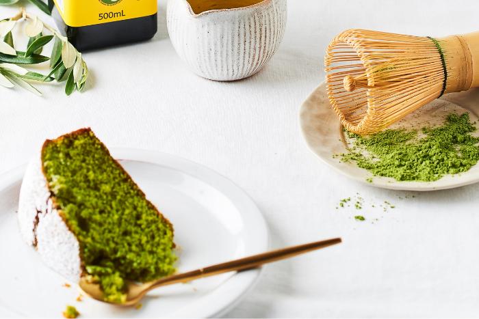 Gâteau à l'huile d'olive et au matcha