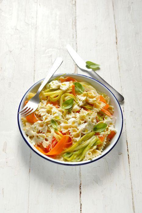 recette de Pâtes crémeuses aux rubans de légumes