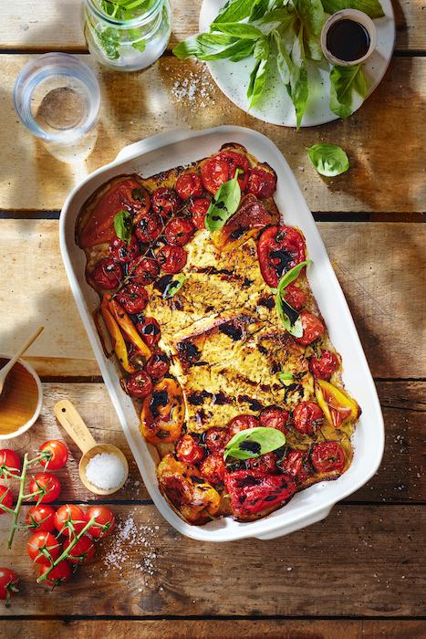 Feta rôtie au four, tomates cerises, mini-poivrons au vinaigre balsamique Fins Connaisseurs Tramier - Kiss My Chef