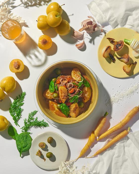 recette d'Agneau mijoté aux prunes jaunes